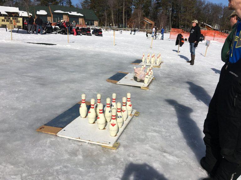 Ice Bowling at Pats Landing Resort Hayward WI