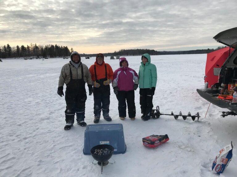 Ice fishing at Pats Landing on the Chippewa Flowage