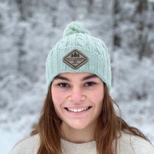 Mint Knit PomPom Hat